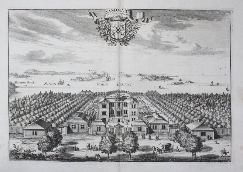 1710 - Sandemar slott Haninge Södermanland Kupferstich Dahlberg engraving