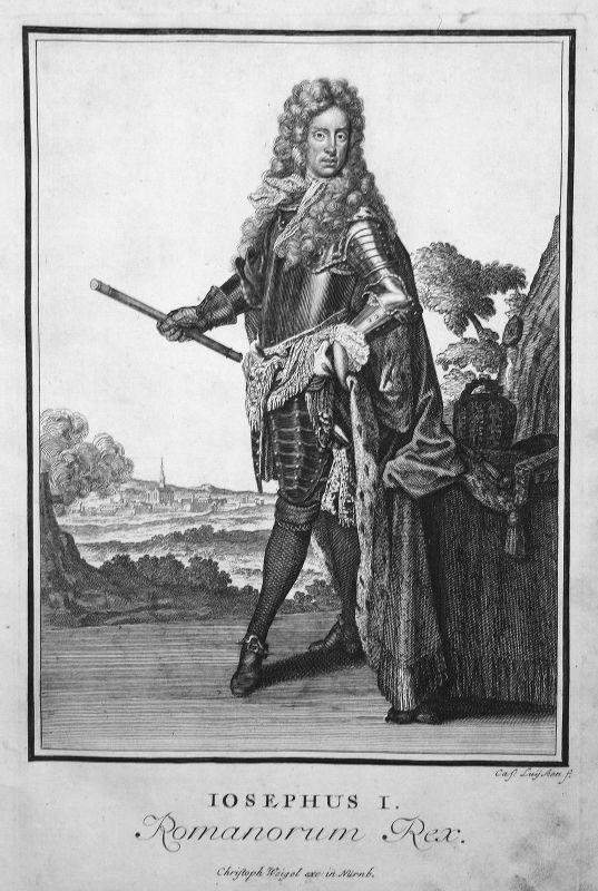 1703 Joseph I HRR Portrait Emperor Roman Kupferstich antique print Sancta Clara