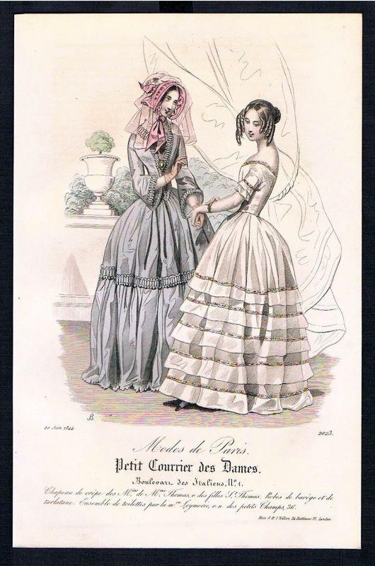 1844 Biedermeier Mode Kupferstich victorian fashion antique print Paris et 89233