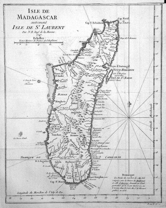 1747 Madagascar Madagaskar Africa map Karte Kupferstich antique print Bellin