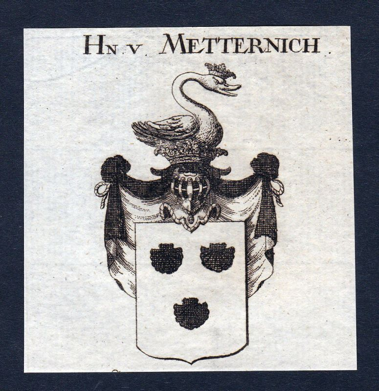 Ca. 1820 Metternich Wappen Adel coat of arms Kupferstich antique print he 143302