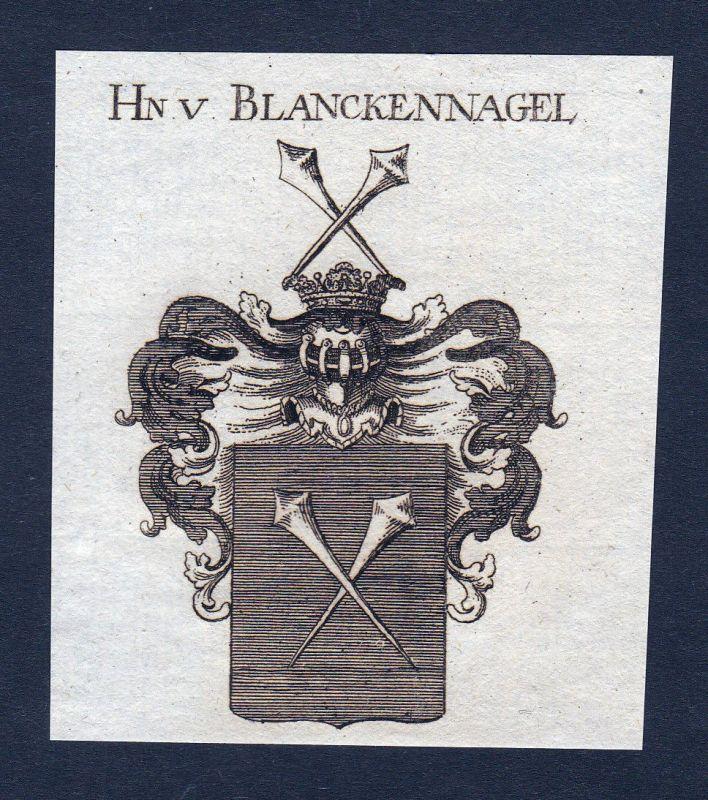 Ca. 1820 Blanckennagel Blankennagel Wappen Adel coat of arms Kupferstich antique