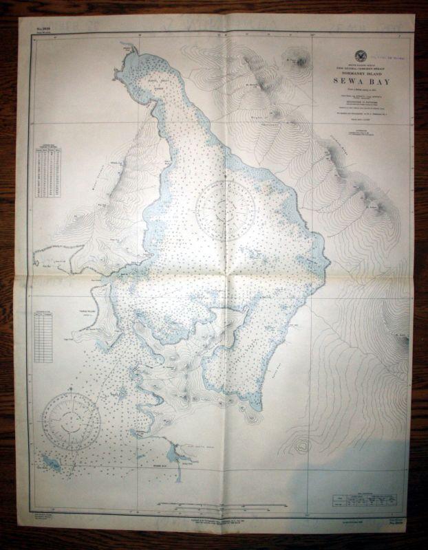 1944 Ocean Goschen Strait Normanby Island Sewa Bay Australia Australien map Plan