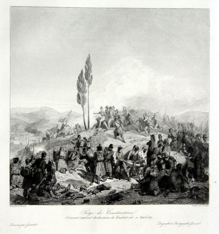 Ca. 1840 Siege Constantine Algeria Ansicht vue estampe Stahlstich antique 146843