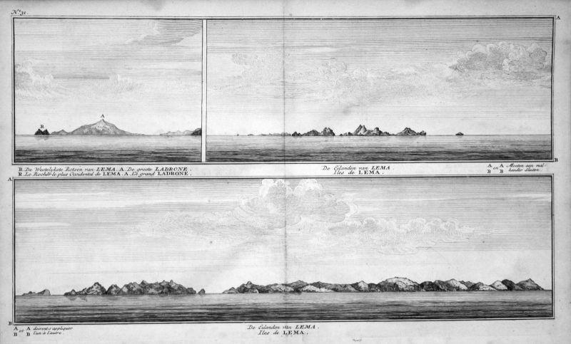 1749 Lema Marianen Mariana Islands Ansicht view Kupferstich antique print Anson