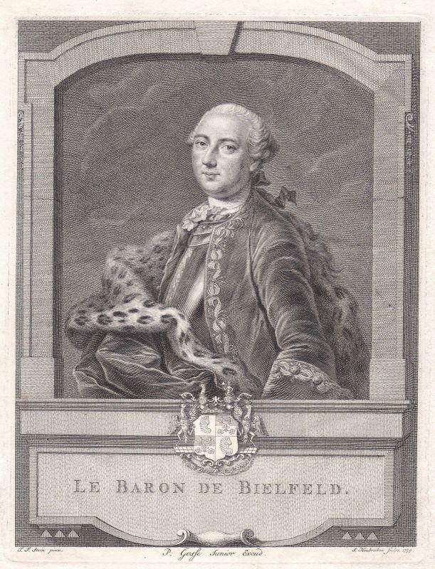 1759 Jakob Friedrich von Bielfeld Schriftsteller Portrait Kupferstich Houbraken