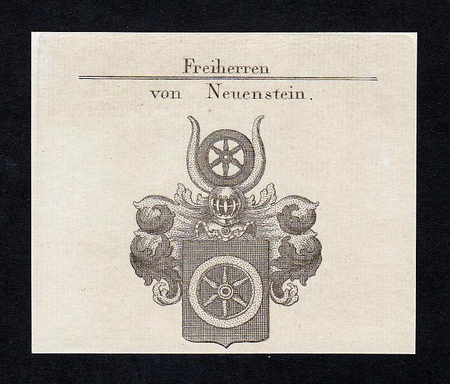 1820 Neuenstein Hohenlohe Wappen coat of arms Heraldik Kupferstich engraving