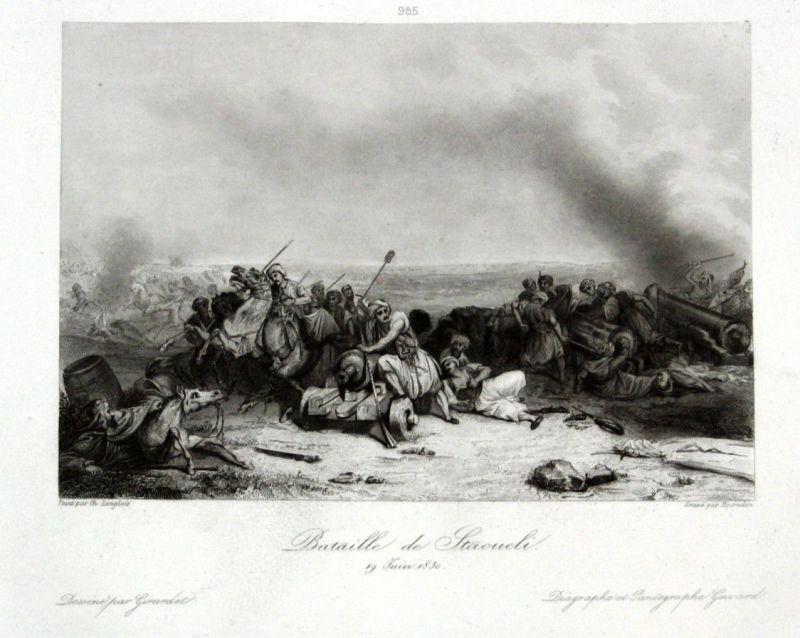 1840 Battle of Staoueli Algeria Ansicht vue estampe Stahlstich antique print