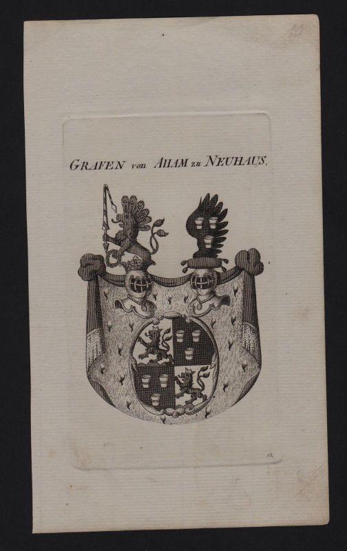 1800 - Grafen Aham Neuhaus Wappen coat of arms Heraldik Genealogie Kupferstich