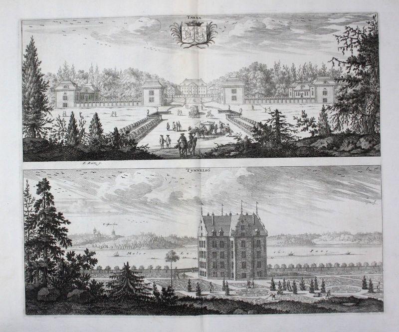 1710 - Tärnö Nyköping Tynnelsö slott Södermanland Kupferstich Dahlberg engraving
