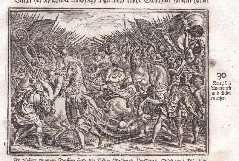 1700 Amazonen Athen Athens Amazons battle Kampf Kupferstich antique print Merian