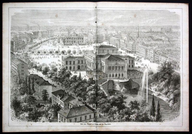 Ca. 1870 Theater Leipzig Schauspiel theatre Ansicht Holzstich antique print