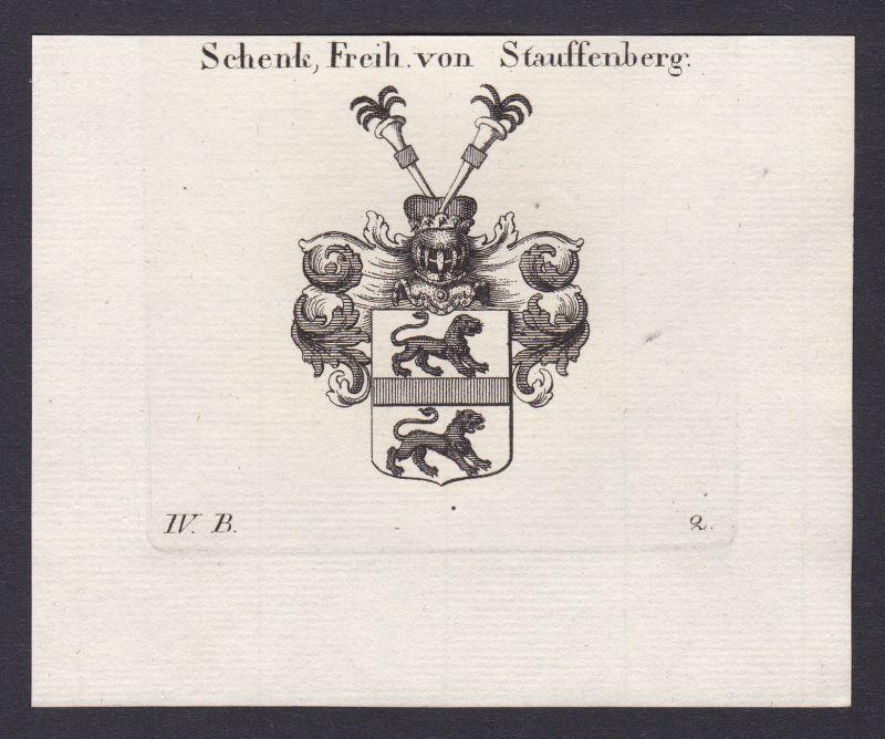 1820 Stauffenberg Schwaben Wappen Adel coat of arms Heraldik Kupferstich
