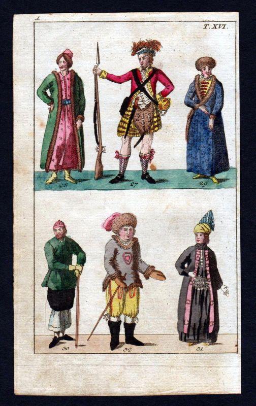 Ca. 1790 Bergschotte Highlander Scotland Schottland Kupferstich antique print