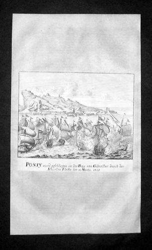 1705 - Gibraltar Antique Print Map Kupferstich Merian