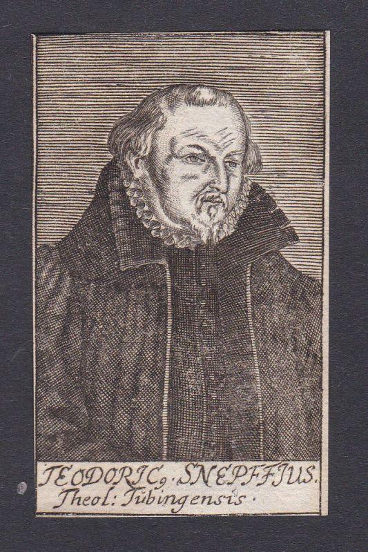 1680 Dietrich Schnepf / theologian Theologe Tübingen Portrait Kupferstich