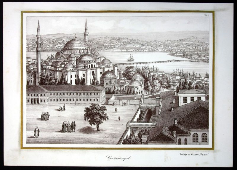1856 Istanbul Turkey Türkei Constantinopel Kreidezeichnung gravure engraving