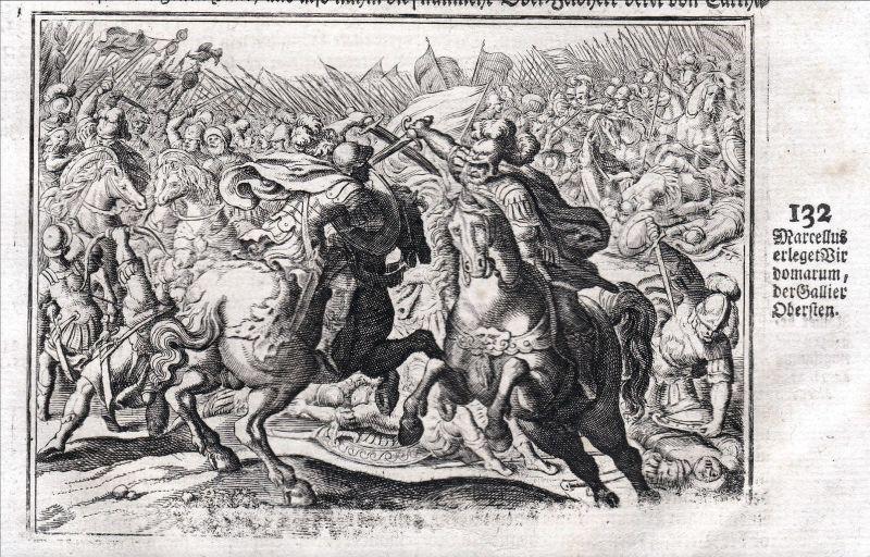 Um 1700 Marcellus Kampf Schlacht battle fight Kupferstich antique print Merian