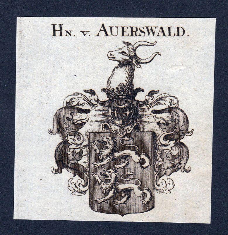 Ca. 1820 Auerswald Wappen Adel coat of arms Kupferstich antique print her 143279