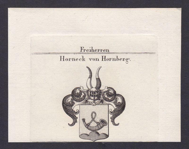 Horneck von Hornberg Schwaben Wappen Adel coat of arms Heraldik Kupferstich 1820