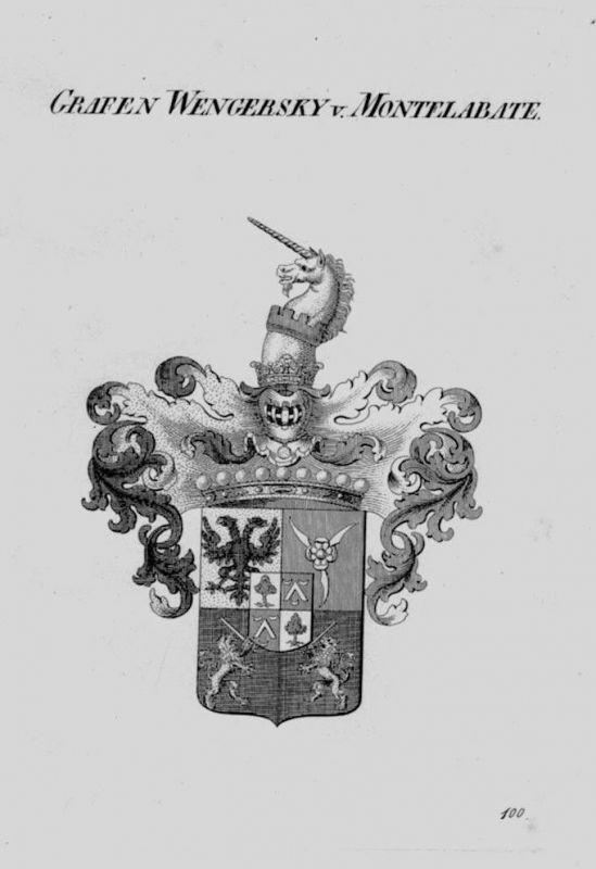 1820 - Wengersky Montelabate Wappen Adel coat of arms Heraldik crest Kupferstich