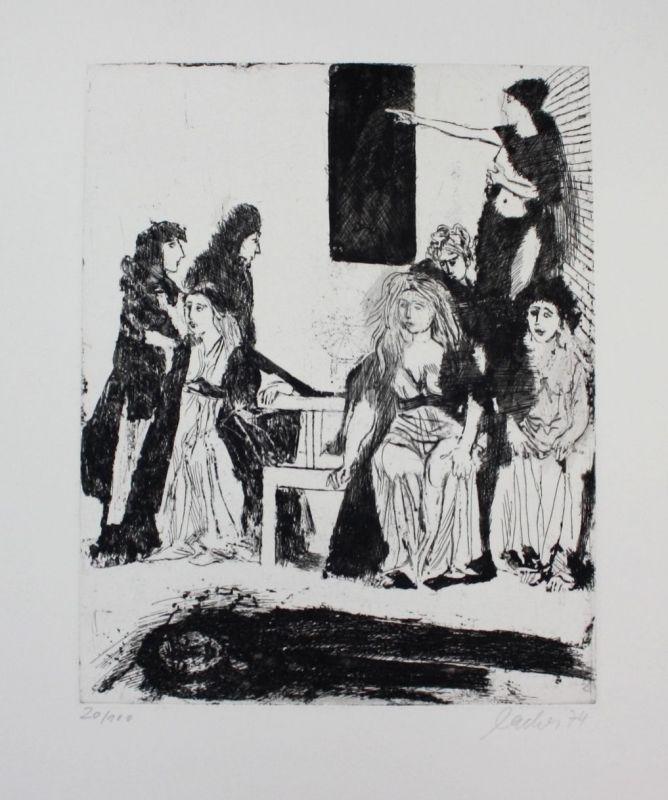 Max Lacher - Original Radierung signiert etching signed München Munich gravure