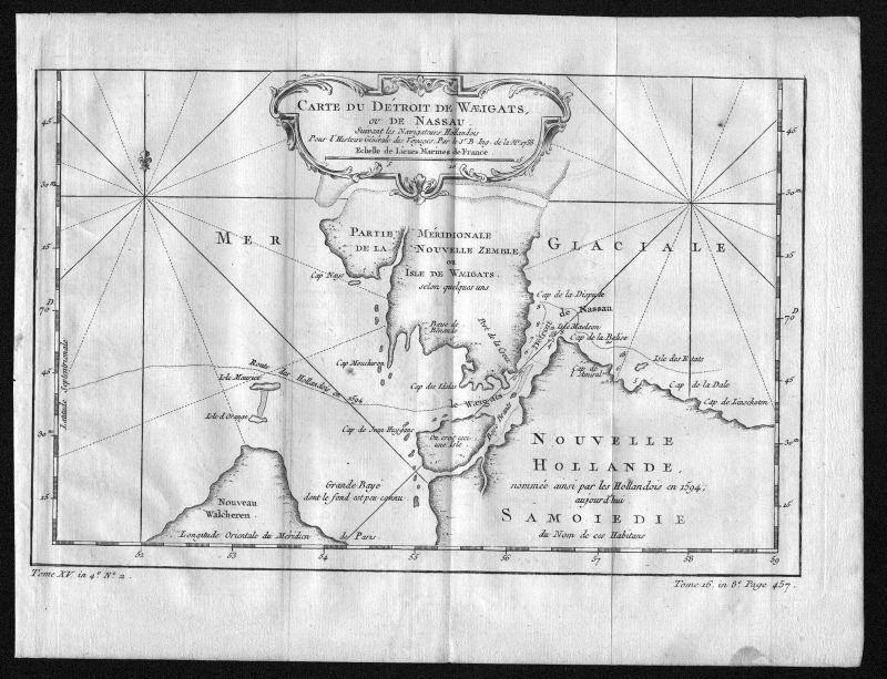 1758 Waigatsch Vaygach Russia Island Russland map Karte engraving Bellin