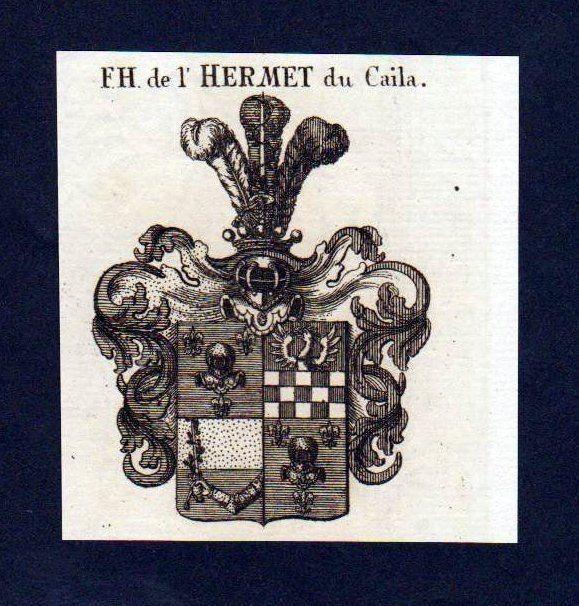1780 Freiherren de l'Hermet du Caila Kupferstich Wappen