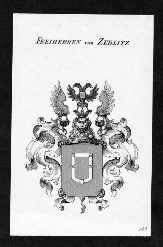 Ca. 1820 Zedlitz Wappen Adel coat of arms Kupferstich antique print heral 130895