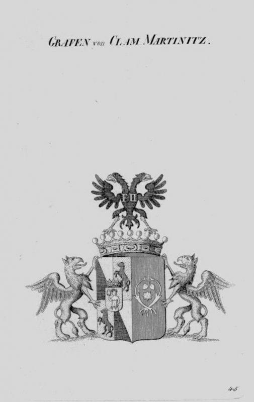 1820 - Clam Martinitz Wappen Adel coat of arms heraldry Heraldik Kupferstich