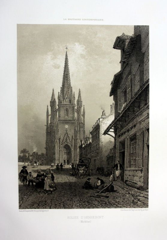 Ca. 1870 Basilique Hennebont Bretagne France estampe Lithographie lithograph 0