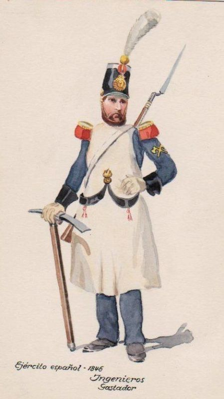 1930 - Gastador Ingenieur Spanien Militaria Uniform Uniformen Original Aquarell