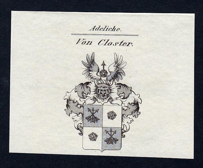 1820 Closter Wappen Adel coat of arms heraldry Heraldik Kupferstich engraving