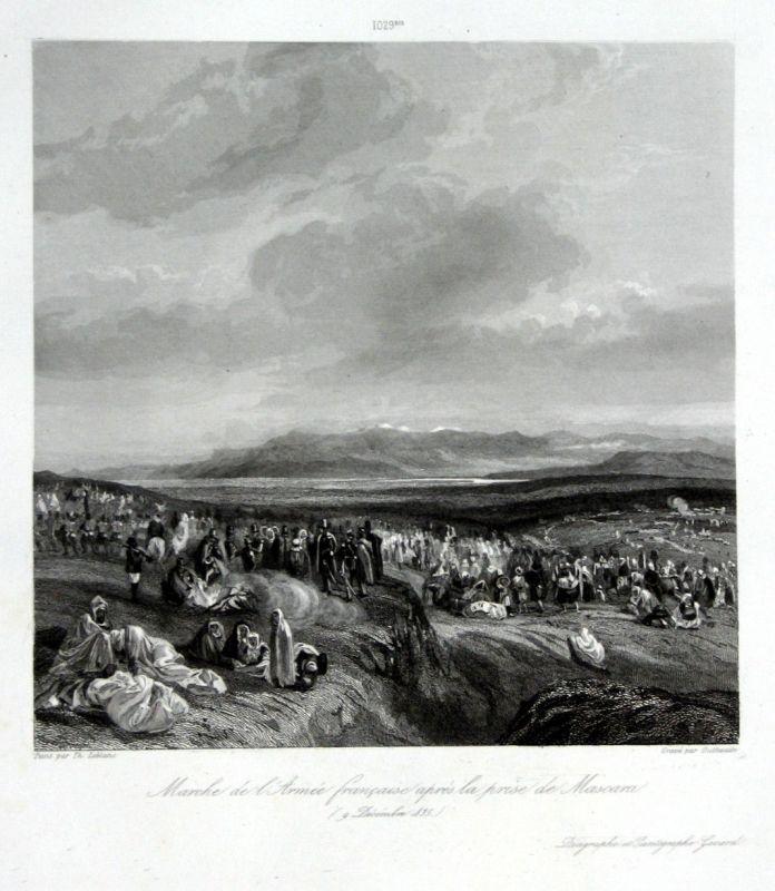 Ca 1840 Mascara Algeria Algerien Ansicht vue estampe Stahlstich antique print