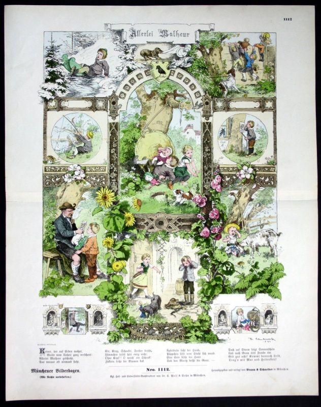 1890 Allerlei Malheur Kinder Wald Spiel Natur Münchener Bilderbogen