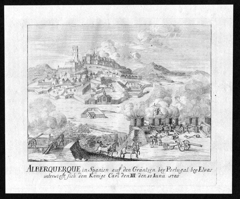 1718 Alburquerque Espana Spain view Plan Ansicht Kupferstich antique print