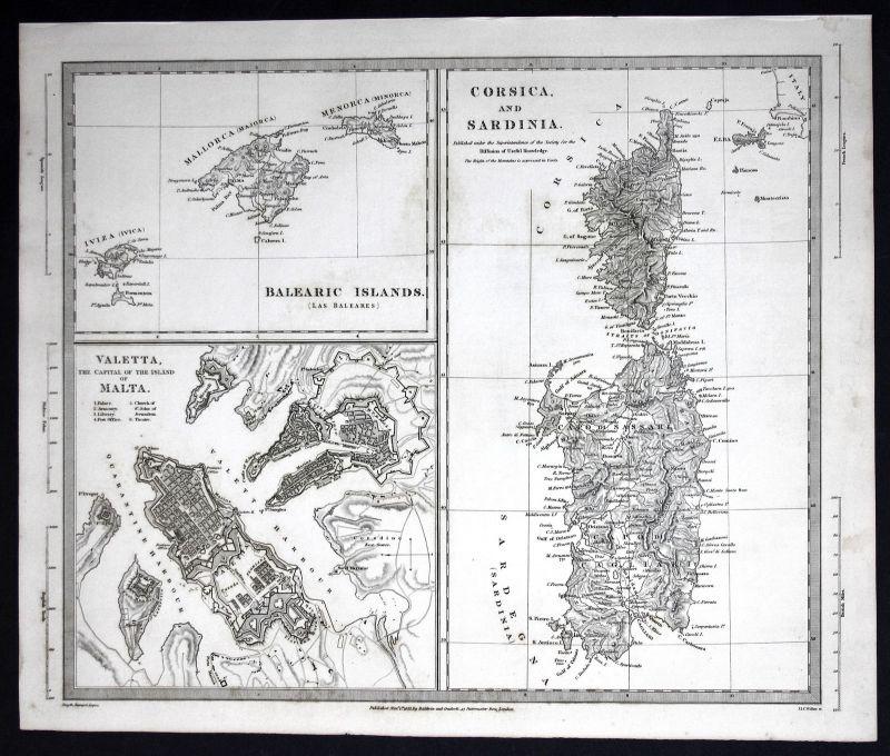 1830 Italien Italy Italia Sardinia Sardinien Malta Corsica SDUK Karte map
