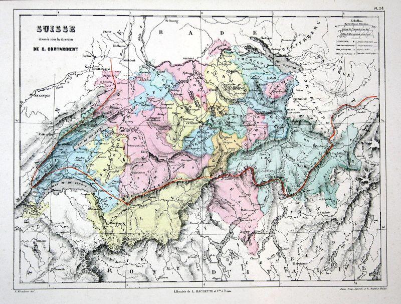 Suisse Svizzera Schweiz Weltkarte Karte world map Lithographie lithograph Litho