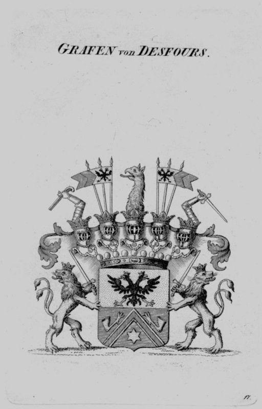 1820 - Desfours Wappen Adel coat of arms heraldry Heraldik crest Kupferstich
