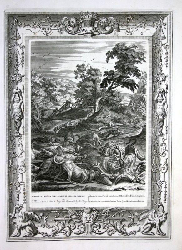 Ca 1730 Actaeon Aktaion deer Greek Mythologie mythology Kupferstich engraving