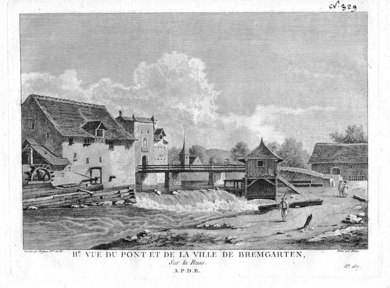 1780 - Bremgarten Aare Kanton Aargau gravure Kupferstich Zurlauben