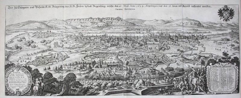 Ca. 1660 - Regensburg Belagerung Schlacht von 1634 Kupferstich Merian battle
