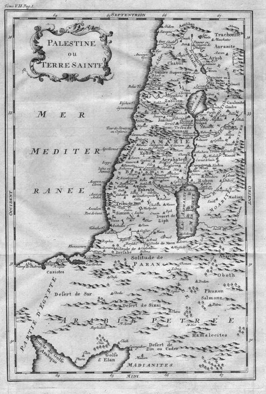 1750 - Israel Palestine Holy Land Karte map engraving Kupferstich