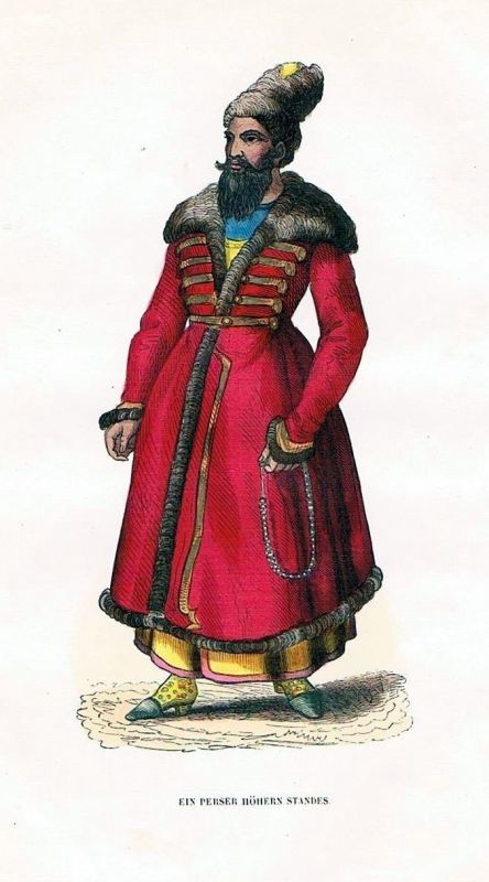 1845 -Persia Persien Trachten Holzstich costumes antique print