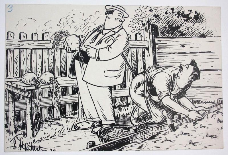Ca. 1930 Garten Gärtner München Karikatur Original Zeichnung signiert