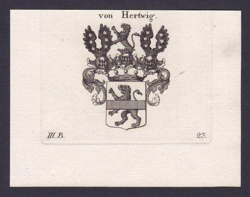 1820 Hertwig Wappen Adel coat of arms Heraldik heraldry Kupferstich engraving