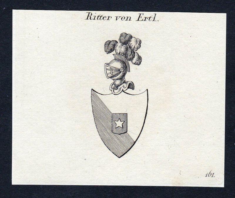Ca. 1820 Ertl Ertel Wappen Adel coat of arms Kupferstich antique print heraldry