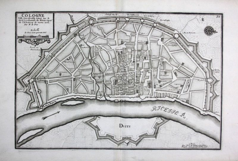 1705 Köln Stadtplan Plan Cologne Kupferstich de Fer