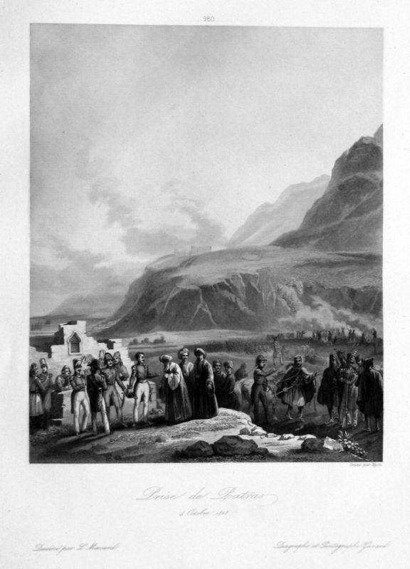 Ca. 1840 Patras Greece Griechenland Napoleon Ansicht Stahlstich antique print