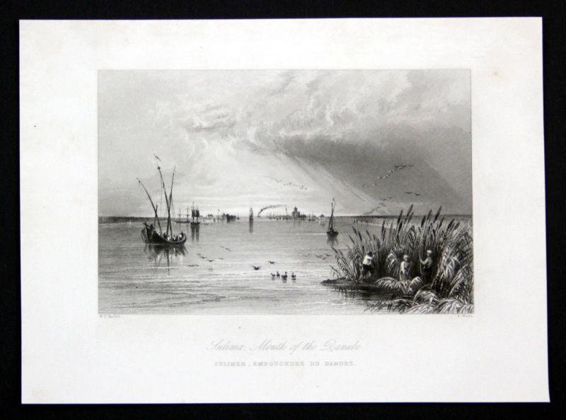 Ca. 1850 Sulima Danube Donau view Ansicht Stahlstich antique print Wallis